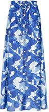 Isolda - fish print long skirt - women - Cotton - 36 - BLUE