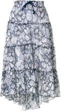 See By Chloé - tiered snake print midi skirt - women - Cotton/Silk/Viscose - 34, 36 - BLUE