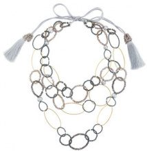 Night Market - Collana con catene ad anelli e perline - women - Brass/Polyester/Plastic - One Size - Grigio