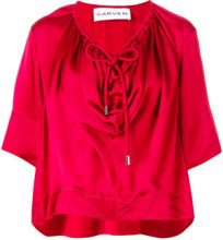 Carven - T-shirt con coulisse - women - Viscose - 34, 36, 38 - RED