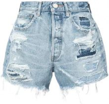 Moussy Vintage - distressed denim shorts - women - Cotone - 26 - Blu