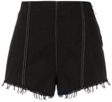 MSGM - denim high waist shorts - women - Cotone - 42 - Nero