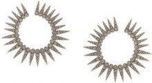 Oscar de la Renta - Orecchini a cerchio con borchie spike - women - Pewter/Crystal/Brass/Gold - OS - Nero