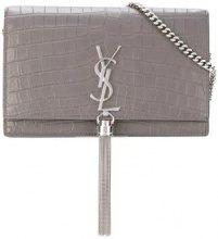Saint Laurent - Portafoglio con catena - women - Cotone/Calf Leather - OS - Grigio