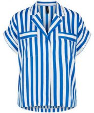 Y.A.S Blue Striped Short Sleeved Shirt Women Blue