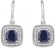 Jewelili Donna 925 argento cuscino blu Zaffiro FASHIONEARRING