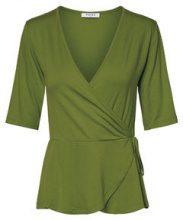 PIECES Short Sleeved Wrap Blouse Women Green