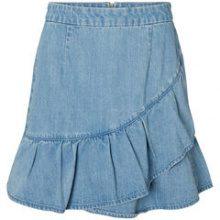 VERO MODA Frill Denim Skirt Women Blue