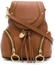 See By Chloé - Olga backpack - women - Leather/Cotton - One Size - BROWN