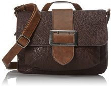 Tamaris Lee Satchel Bag - Borse a secchiello Donna, Braun (Dark Brown Comb), 10x22x28 cm (B x H T)
