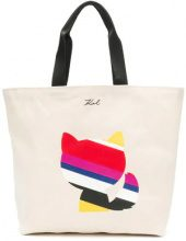 Karl Lagerfeld - K/Stripes luxury canvas shopper - women - Cotton - One Size - NUDE & NEUTRALS