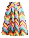 Moollyfox Moda A Strisce Color Arcobaleno Stampato Annata Vita Alta A Pieghe Donne Gonne Midi