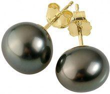 Pearls & Colors Donna 9 carati Oro giallo semirotonda Perla di Tahiti coltivata nero Perla FINEEARRING