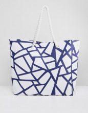 South Beach - Maxi borsa con stampa geometrica e corda - Nero