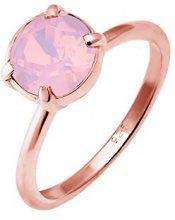 Elli–Anello da donna in argento 925con cristallo rosa, taglio a brillante, argento, 58 (18.5), colore: oro rosa, cod. 0602261916_58