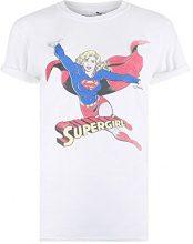 DC Comics Retro SuperGirl, T-Shirt Donna, Bianco (White Wht), 44 (Taglia Produttore: M)