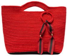 Sensi Studio - red ribbon tassel straw basket bag - women - Viscose - OS - Rosso
