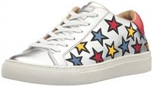 Skechers Street Side Embroid, Sneaker Donna, (Silver Leather/Multicolour Color Embroidered Star Trim), 38 EU