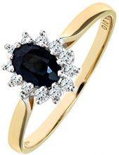 Naava Anello da Donna in Oro Giallo 9K con Zaffiro e Diamante, Oro, P (Taglia Produttore 15 7/8)