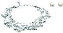 Dew Donna 925 argento Marquise Rotonda perla cinesa da coltivazione trasparente Cristallo FINEOTHER