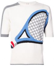 Thom Browne - Crewneck Tee Shirt With Tennis Racket Intarsia In Cashmere - men - Cashmere - 2 - WHITE