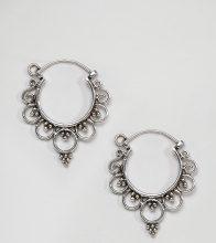 Kingsley Ryan - Orecchini a cerchio piccoli in argento sterling con decorazioni - Argento