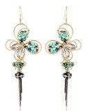 MARENJA Etnico-Orecchini Lunghi da Donna Design Speciale con Veri Cristalli di Boemia e placcatura in Oro Bianco