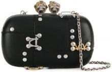 Alexander McQueen - King and Queen skull clutch - women - Leather - OS - BLACK