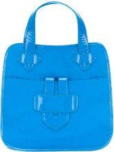 Tila March - Zelig large contrast trim tote - women - Patent Leather/Nylon - OS - BLUE