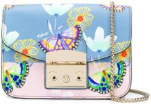 Furla - butterfly print mini Metropolis bag - women - Calf Leather - One Size - BLUE