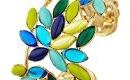 Philippe Ferrandis cinturino rigido, motivo: colibrì, colore: doratura liquida oro fine, pasta di vetro, colore blu, verde,: 60