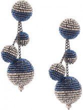 Oscar de la Renta - triple beaded ball earrings - women - Cotone/Brass/plastic/glass - OS - Blu