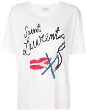 Saint Laurent - Bouche Saint Laurent boyfriend T-shirt - women - Cotton - XS, S - WHITE