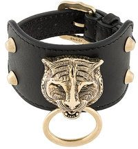 Gucci - Bracciale con testa felino - women - Leather - OS - BLACK