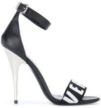 Versus - logo printed strap sandals - women - Leather - 36, 37, 39, 38, 40 - BLACK