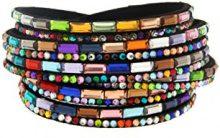 Kettenworld Bracciale in morbida ecopelle con strass decorativi in diversi colori & versioni, acciaio inossidabile, colore: schwarz bunt, cod. 370676