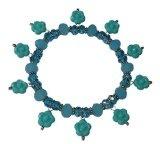 TATU TOURQUOISE - Bracciale elastico fatto a mano, in cristallo e fiorellini pendenti in resina