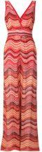 M Missoni - Tuta lungo con scollo a V - women - Cotone/Polyamide/Metallic Fibre/Polyester - 38 - RED