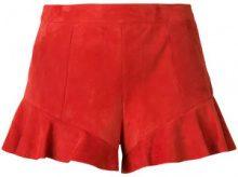- Drome - Shorts con orlo increspato - women - fibra sintetica/pelle di agnello - S - di colore rosso