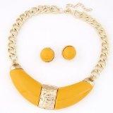 Yellow gemme orecchini collana falsa del collare Set, orecchini un necklace giallo Gemme regolati per le donne