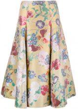 Valentino - floral brocade skirt - women - Silk/Cotone/Polyester/Metallized Polyester - 42, 44 - Giallo & arancio