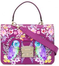 Furla - owl painted Metropolis bag - women - Leather - One Size - PINK & PURPLE
