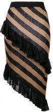 - Marco De Vincenzo - Gonna con strisce diagonali - women - Metallized Polyester/Acetate/Polyamide - 42 - di colore nero
