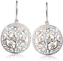 Engelsrufer albero di vita orecchini per donne tricolore rodio Rose giallo oro placcato argento 925-Sterling dimensione 21 mm (0,83