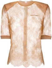 Off-White - lace detailed top - women - Polyamide/Acetate/Polyester/Silk - 42 - NUDE & NEUTRALS