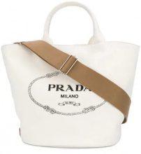 - Prada - front logo tote bag - women - Cotton - Taglia Unica - Bianco