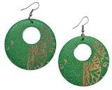 Idin - Orecchini a pendente di forma rotonda, in legno intagliato con motivo tribale, colore: verde e marrone Lunghezza totale: circa 70 mm; dimensioni del disco in legno: 50 x 2 mm.