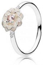 Donne-anello Pandora Blooming Dahlia 925 cristallo d'argento dello smalto - rosa Zirconia 190985NBP, argento, 52 (16.6), colore: beige/pink/silber, cod. 190985NBP-52