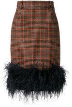 Prada - Gonna a matita con piume - women - Polyamide/Viscose/Ostrich Feather/Virgin Wool - 40, 42, 44 - BROWN