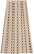 Gucci - Gonna in seta con stampa baci motivo Web - women - Silk - 40 - NUDE & NEUTRALS